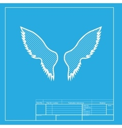 Wings sign  white section of icon on vector