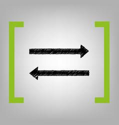 arrow simple sign black scribble icon in vector image