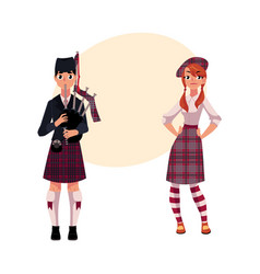 Bagpiper piper and scottish girl in national vector