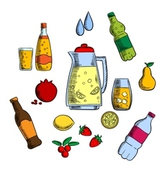Beverages alcohol and drinks set vector