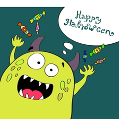 card with funny monster vector image vector image