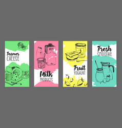 collection of flyers with dairy products vector image vector image