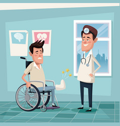 color background hospital room with young man in vector image