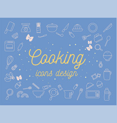 cooking icons design set vector image