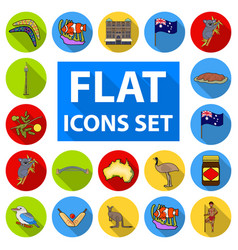Country australia flat icons in set collection for vector