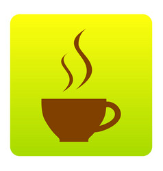cup of coffee sign brown icon at green vector image