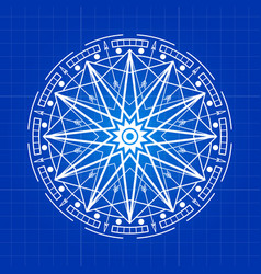 Esoteric mystery sign line on blue backdrop vector