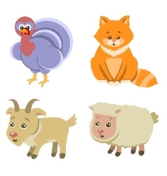 Farm Animals Icons on White Background in Flat vector image