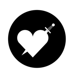 heart love with sword romantic icon vector image vector image
