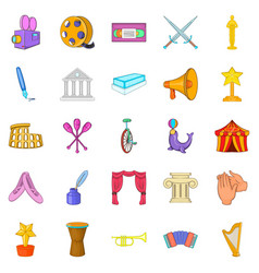 Liberal arts icons set cartoon style vector