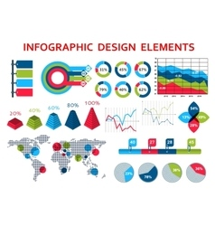 Map and charts infographis elements vector