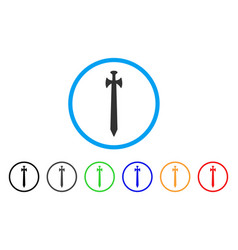 medieval sword rounded icon vector image vector image