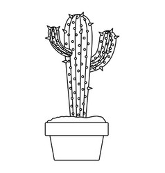 Monochrome silhouette with cactus with two vector