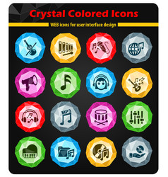music icon set vector image vector image