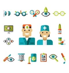 Optical icons ophthalmology icons set vector