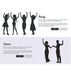 Party and dance posters with colleagues dancing vector