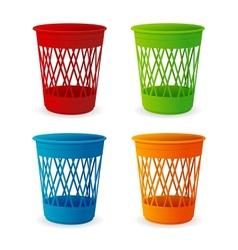 plastic basket set trash bins on white vector image