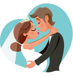 pregnant bride kissing groom cartoon vector image