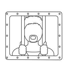 prisoner icon in outline style isolated on white vector image vector image