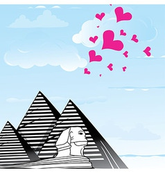 Pyramid and sphinx sphinks objects as travel love vector
