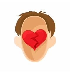 Red heart in the head icon in cartoon style vector