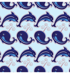 seamless whale dolphin 380 vector image