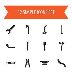 Set of 12 editable instrument icons includes vector