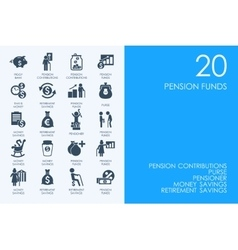 Set of pension funds icons vector