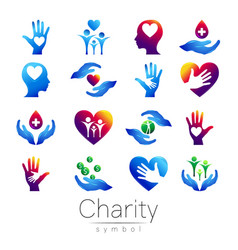 set symbol of charity sign vector image vector image