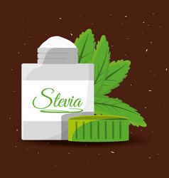 Stevia natural sweetener packet product vector