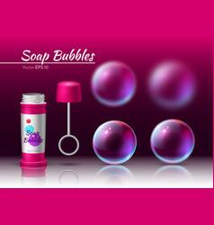 Transparent soap bubbles realistic tube 3d vector