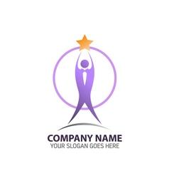 Trophy man logo icon vector