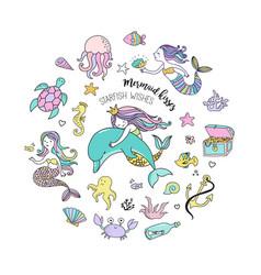 under the sea - little mermaid vector image vector image