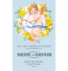 Vintage wedding invitation with cupid vector image vector image