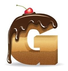 Cake letter G- birthday font vector image