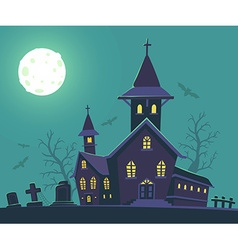 Halloween of haunted house cemetery bats vector