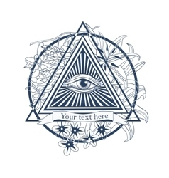 All seeing eye  tatoo masonic symbol vector