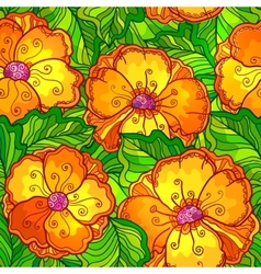 Ornate orange flowers seamless pattern vector image
