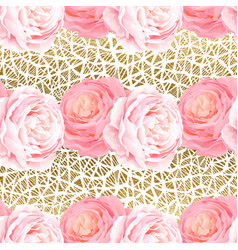 seamless pattern with elegance color pink roses vector image