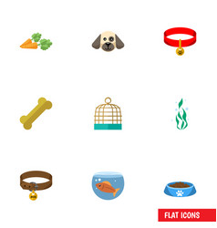 Flat icon pets set of kitty collar cat eatin vector