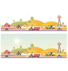 Low poly farm field works vector