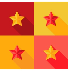 Christmas yellow and red star flat set icon vector