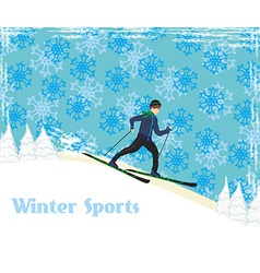 Boy rides on skis in winter day vector