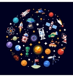 Circle flat design composition of space icons and vector