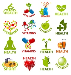 Large set of logos for health vector