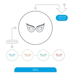 Festive mask icon masquerade carnival sign vector