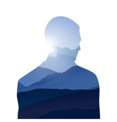 Double exposure man and sky with mountains vector