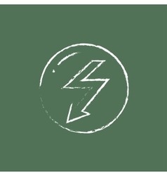 Lightning arrow downward icon drawn in chalk vector