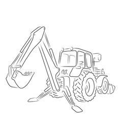 Outline of backhoe loader vector