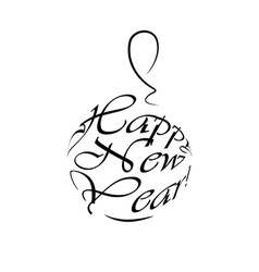 Happy new year logo christmas ball vector